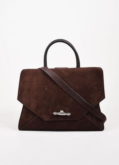 """Givenchy Chocolate Brown Bull Leather Top Handle Medium """"Obsedia"""" Bag"""