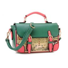 Discount Vintage Retro Ladies Graffiti Green Shoulder Bags Sale Online