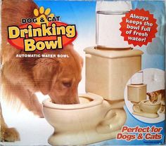 This is the coolest water system for your smaller dog or puppy. It is a well made ceramic toilet bowl with automatic watering feature.