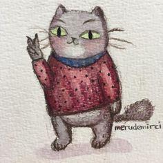 İsimsiz — #watercolor #cat #polychromos #illustration
