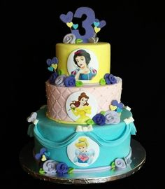 Disney Princess Birthday Cake i made at home for a little girl who was turning 3 years old...