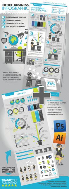 Office Business Infographic — Photoshop PSD #office #template • Available here → https://graphicriver.net/item/office-business-infographic/5631865?ref=pxcr