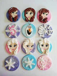 Frozen Fondant/Edible Theme cupcake toppers by DsCustomToppers Fondant Cupcakes, Cupcakes Frozen, Frozen Fondant, Frozen Cupcake Toppers, Frozen Cake Topper, Frozen Cookies, Fondant Toppers, Themed Cupcakes, Cupcake Cakes