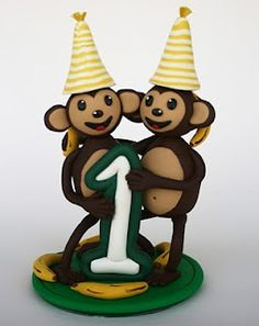 SpiritMama Art and Soul: Twin Monkeys First Birthday Cake Topper