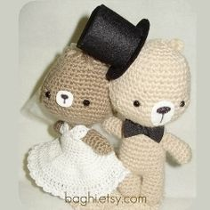 Crochet wedding bears