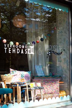 novamelina  Our shop window. ♥ Mäkelänkatu 15, Vallila, Helsinki, Finland  Web shop: www.novamelina.com  #Finnish #shop #handmade #Liberty #of #London #fabrics #vintage #furniture #Helsinki #where #to #go
