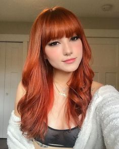 Red Hair With Bangs, Layered Haircuts With Bangs, Long Red Hair, Oval Face Hairstyles, Hairstyles With Bangs, Hair Styles 2016, Curly Hair Styles, Red Hair Inspo, Haircut For Square Face
