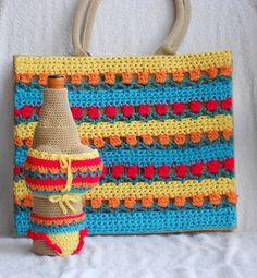 Gehaakte AH tas met bijpassend wijnflesjasje speciaal voor de Pasen als cadeau te geven.