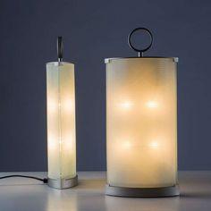Gio Ponti; Glass and Metal 'Pirellina' Table Lamps for Fontana Arte, 1967.