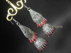 E3069 BOLD White metal tribal banjara JHUMKA CHANDELIER fashion EARRINGS Indian nepalagora #handmade