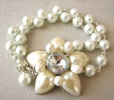 Vintage Wedding Jewelry Pearl Bracelet Bridal Jewelry Flower Bracelet