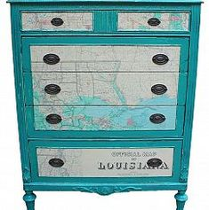 Sweet dresser with map motif! Very cool.