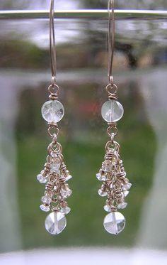 Aquamarine Earrings - Wire Wrapped Aquamarine Fringe Earrings - Bridal. $75.00, via Etsy.