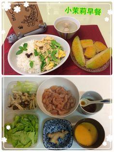 2015.05.06 野菇嫰雞蓋飯、義美貢丸湯、楊桃,佐福原希己江「美味之歌」! 星期三小茉莉半天課,不必帶便當,所以如果早餐有飯類,大多會安排在這一天。把雞胸肉醃好、薑爆香、炒白雞肉,將白菜梗/鴻喜菇炒軟,沐上醬汁,再加白菜葉拌炒,最後加入蛋液。咦,為何搭配音樂、説著說著就有點兒「深夜食堂」的fu呢?!Good morning Wednesday!