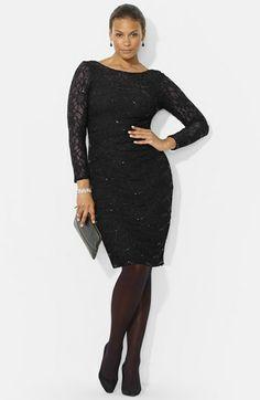 Lauren Ralph Lauren Sequin Lace Sheath Dress (Plus Size) available at #Nordstrom