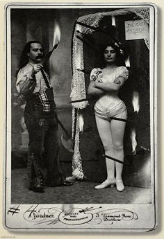 Knife throwing act Signor Gustavo Arcaris & sister Miss Rose Arcaris, circa 1890s-1900s