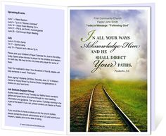 Church Bulletin Templates : Railroad Church Bulletin Template with Proverbs 3:6, In all your ways acknowledge Him and he shall direct your paths.