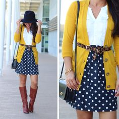 Cognac boots, navy and white polka dot skirt, leopard belt, navy purse, hat and layers - fall / winter outfit.  Click on the following link to see more photos and outfit ideas: http://www.stylishpetite.com