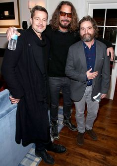 Brad Pitt, Chris and Zack<---Brad hasn't aged very well. Guess that's what happens when you have the life sucked out of you when you've been married to Angelina. Chris Cornell, Between Two Ferns, Say Hello To Heaven, Zach Galifianakis, Grunge, Rockn Roll, Charity Event, All Smiles, Pearl Jam
