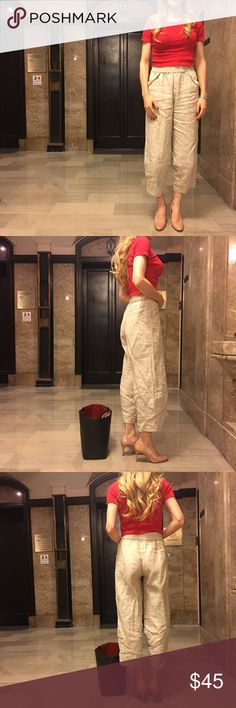 """Custom linen beige pants OS Brand new.  Will look great with high heels or sandals. All season pants. One size fits most. Ideal height is 5'5"""" - 5'9"""".  Elastic waistband.  Made in Japan by Maya Moto. Maya Moto Pants Ankle & Cropped"""