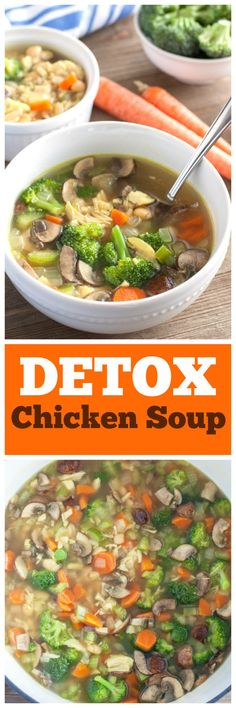 Detox chicken soup is filled with chicken, white beans and vitamin packed veggies. A delicious and healthy way to start of the new year. #soup #detox #chickensoup #turmeric #lowcarb #vegetablesoup