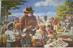 "Vintage Smokey The Bear Print by Rudy Wendelin  26"" x 20.5"""