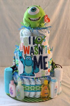 Hey, I found this really awesome Etsy listing at https://www.etsy.com/listing/204365938/monsters-inc-themed-diaper-cake