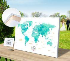 guest book watercolor map