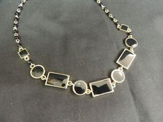 Vintage Necklace Runway Black Lacquer Enamel Gold Geometric Liz Claiborne LC