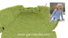 In this DROPS video we show how to knit a jumper top down in the round on circular needles. We show how we increase for raglan by doing a YO 2 sts before marker… Jumper Knitting Pattern, Knitting Patterns Free, Free Knitting, Baby Knitting, Free Pattern, Drops Design, Raglan Pullover, Leather Repair, Baby Cardigan