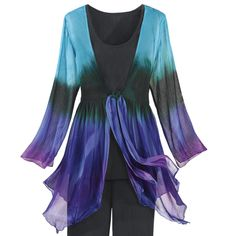 Waterbird Tunic.   Exclusive! Color takes flight in rich shades of turquoise, green, and purple! This V-front tunic features knotted, ribbon ties at center front, a smocked back, and long, slit sleeves. 100% rayon chiffon. Hand washable. Imported. Color: Turquoise/Purple Multi