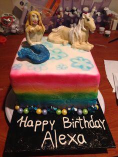 Rainbow, unicorn, mermaid cake