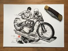 Tangible artefacts (Illustration prints) available in my online shop now. Including this XS650 - By Adi Gilbert / 99seconds.com - #illustration #motorcycleart