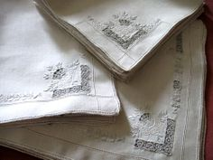antique table napkins - Google Search