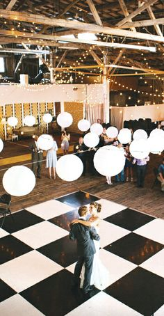 This is the venue and the dance floor. Would like to do the twinkle lights, maybe not the big balls though