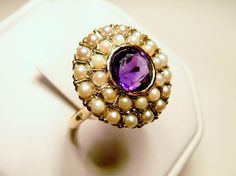 Amethyst and Seed Pearl Ring