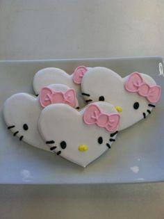 Valentines Heart Hello Kitty sugar cookies by TiffanysSweetSpot on Etsy
