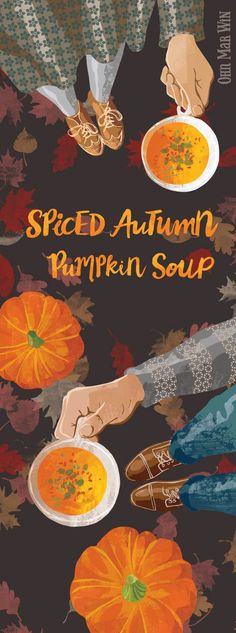 This is a super simple Pumpkin Soup recipe but has loads of warming flavours. With it's chilli kick it's perfect to serve after a wander in the woods this Fall. Food Illustration Ohn Mar Win