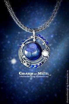 "Fair Masters - handmade ""Neptune` s Satellites"" silver pendant. Wire Pendant, Pendant Jewelry, Gemstone Jewelry, Jewelry Necklaces, Charm Bracelets, Wire Necklace, Wire Wrapped Necklace, Wire Wrapped Pendant, Pendant Necklace"