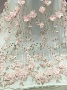 Peach Melba Floral Embroidered and Petal Sequins on  Mesh Dressmaking Fabric 1.3