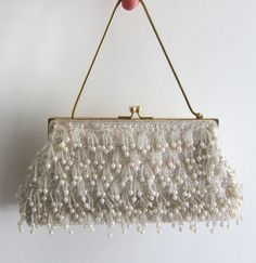 1950s white pearl and sequin evening bag
