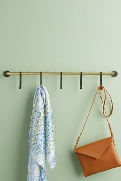 Lusso Hook Rack by Anthropologie in Brown, Hooks Diy Wall Hooks, Wood Hooks, Draw Organizer, Beautiful Closets, Hook Rack, Vertical Storage, Wall Mounted Coat Rack, Mirror Wall Art, Hanging Racks