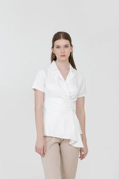 Overlap Drapery Top in White Affordable Fashion, Drapery, Ready To Wear, Spring, How To Wear, Clothes, Tops, Women, Outfits
