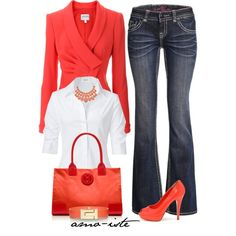 Blazer & Jeans... But without the blazer and add red cigarette pants for work!