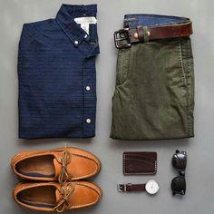Stylish Grid by @stylesofman Follow @stylishgridgame Brands ⤵ Shirt: @hm Trousers: @bananarepublic Shoes: @sperry Sunglasses: @williampainter Watch: @bottadesign Card Holder: @headlandsqg