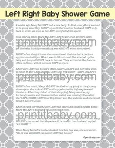 Printable Left Right Baby Shower Game   Yellow And Gray   So Fun And Popular  With