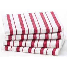 #3: Red Stripe - 4 Pack Oversized Kitchen Towel sets by Cotton Craft - Size 20x30 - Pure 100% Cotton - Crisp Basketweave striped pattern with a hanging loop - Highly absorbent, soft  sturdy - Other colors - Spice, Green, Blue, Linen, Black, Coral, Periwi.