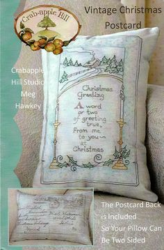 Vintage Christmas Postcard Pillow pattern by LavenderQuiltShop on Etsy