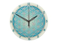 Turquoise and Silver Wall Clock, Flower of Life Home Decor, Spiritual Symbol Art Silver Wall Decor, Silver Wall Clock, Silver Walls, Wall Clocks, Handmade Clocks, Handmade Gifts, Clock Flower, Clock For Kids, Geometric Decor