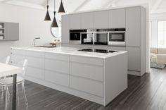 Light grey matt kitchen in a contemporary 'J Pull' Handleless style.